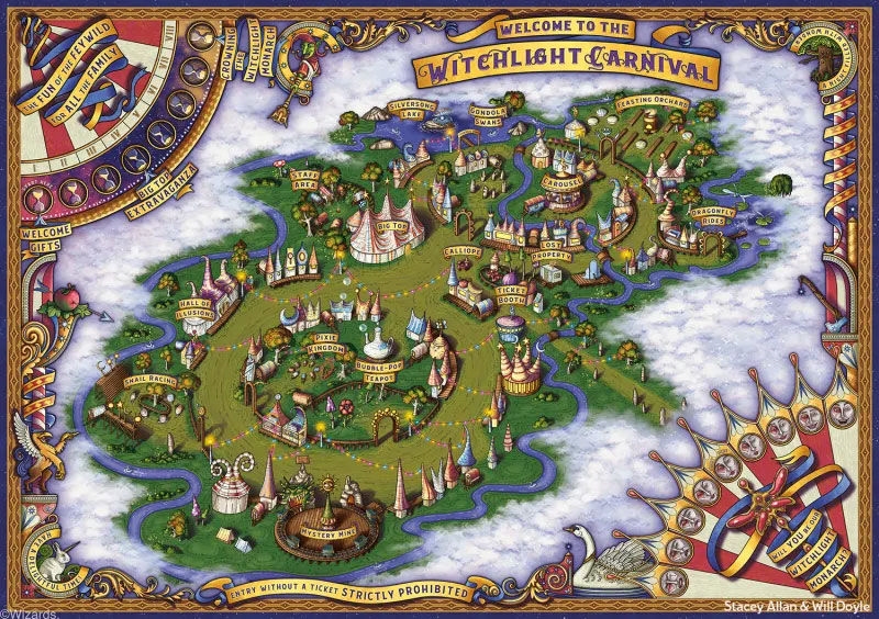 Witchlight Carnival dice set map
