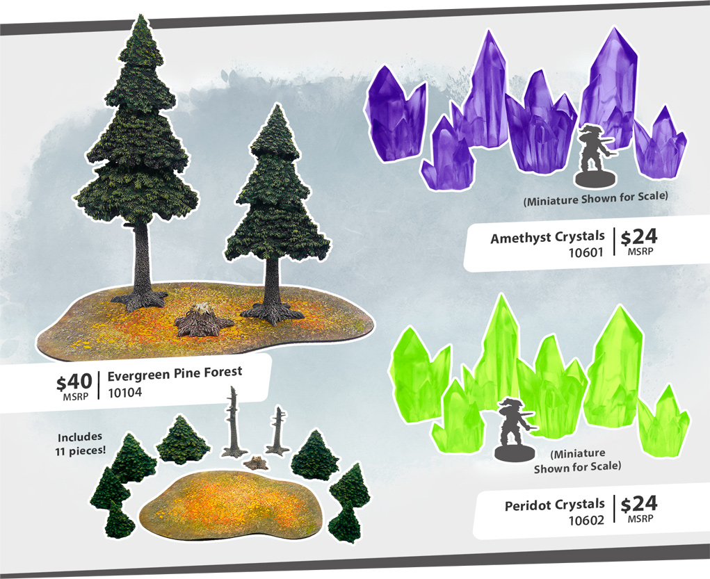 Evergreen & Crystals Monster Scenery